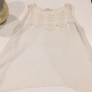Tops - White sheer lace tank top